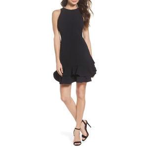 Chelsea28 Black Tiered Ruffle Hem Mini Dress Sz 14